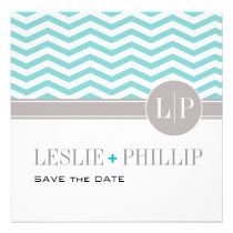 Chic Chevron Monogram Save the Date | teal Invitations
