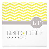 Chic Chevron Monogram Save the Date | yellow Invitation