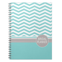 Chic Chevron Monogram | teal Bridal Planner Note Book