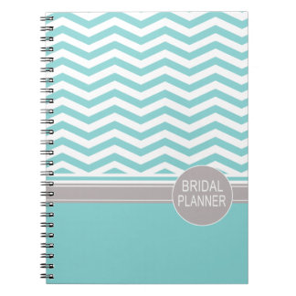 Chic Chevron Monogram | teal Bridal Planner Spiral Notebook