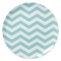 Chic Chevron Monogram | teal Party Party Plates