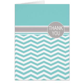Chic Chevron Monogram | teal Thank You Card