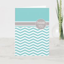 Chic Chevron Monogram | teal Thank You Cards