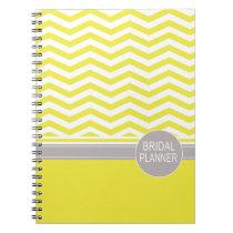 Chic Chevron Monogram | yellow Bridal Planner Spiral Notebooks