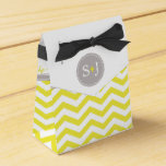 Chic Chevron Monogram | yellow grey white Wedding Favor Box