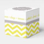 Chic Chevron Monogram | yellow grey white Party Favor Boxes