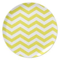 Chic Chevron Monogram | yellow Party Plates
