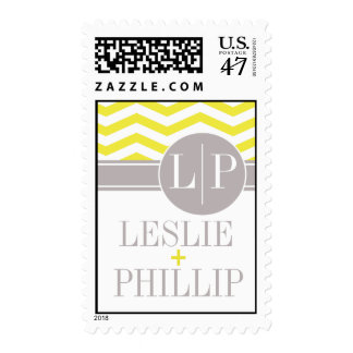 Chic Chevron Monogram | yellow Postage