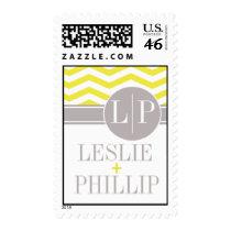 Chic Chevron Monogram | yellow Postage Stamps
