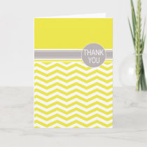 Chic Chevron Monogram | yellow Thank You Card