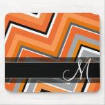 Chic Chevron Pattern Black Gray Orange Monogram Mouse Pad