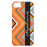 Chic Chevron Pattern Black Gray Orange with Name Case For iPhone 5C
