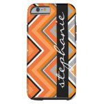 Chic Chevron Pattern Black Gray Orange with Name Tough iPhone 6 Case