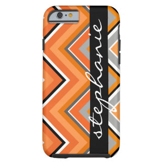 Chic Chevron Pattern Black Gray Orange with Name Tough iPhone 6 Case
