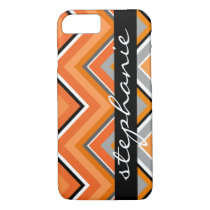 Chic Chevron Pattern Black Gray Orange with Name iPhone 8/7 Case