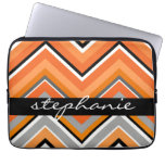 Chic Chevron Pattern Black Gray Orange with Name Laptop Computer Sleeves