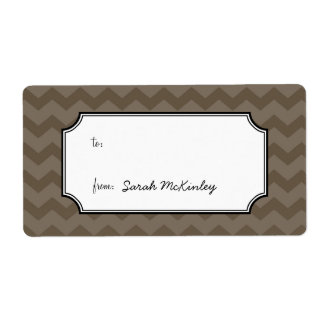 Chic chevron pattern gray to from custom gift tag