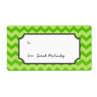 Chic chevron pattern green to from custom gift label