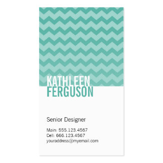 Chic chevron pattern teal blue two tone stylish Double-Sided standard business cards (Pack of 100)