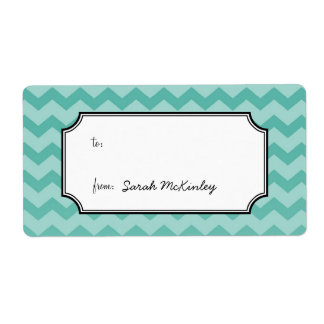 Chic chevron pattern teal to from custom gift tag