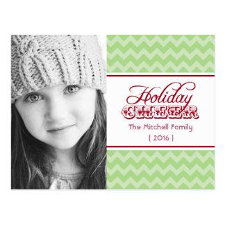 Chic Chevron Photo Holiday Postcard