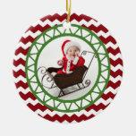 Chic Chevron Red Green Christmas Photo Ornament