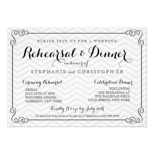 Chic Chevron Wedding Rehearsal Amp Dinner Invitation