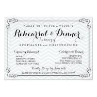 Chic Chevron Wedding Rehearsal & Dinner Invitation