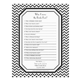 Chic Chevron ZigZag Bride Best Bridal Shower Game Letterhead