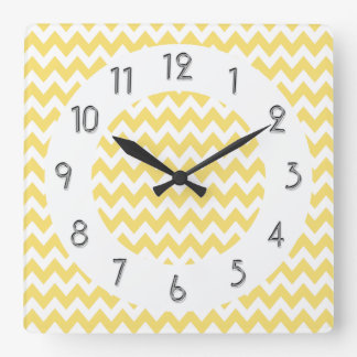 Chic Chevrons Pattern - Lemon White Square Wall Clock