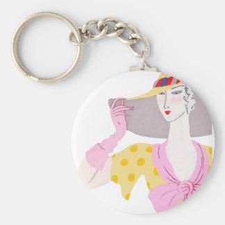 Chic chick basic round button keychain