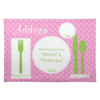 Chic Children's Proper Manners Polka Dot Place Mat Cloth Placemat