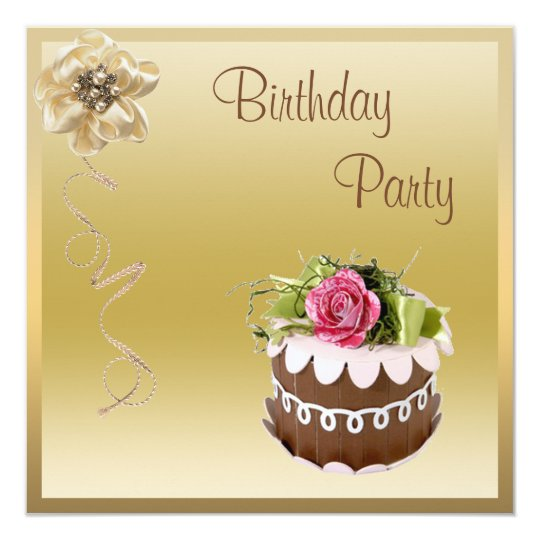 Chic Chocolate Cake & Rose Gold Birthday Party Card