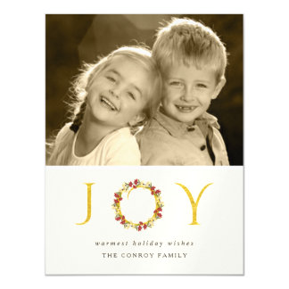 Chic Christmas Joy Floral Wreath Faux Gold Glitter Magnetic Card