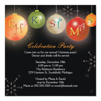 Chic Christmas Ornaments Fun Holiday Party Invites
