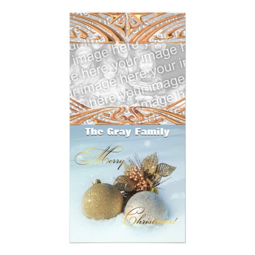 Chic Christmas Ornaments in Snow Custom Add Photo Personalized Photo Card