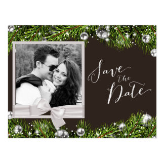 Chic Christmas Photo Save the Date Postcard