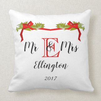 "CHIC CHRISTMAS PILLOW_""Mr & Mrs"" OVER MONOGRAM Throw Pillow"