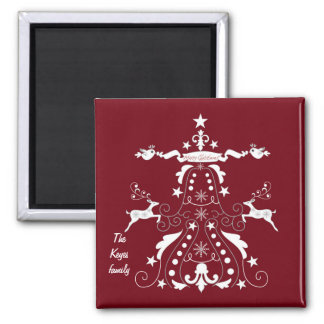 Chic christmas tree with reindeer & custom text magnet