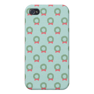 Chic Christmas Wreath Pattern Cover For iPhone 4