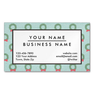 Chic Christmas Wreath Pattern Magnetic Business Card