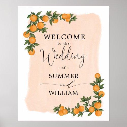 Chic Citrus Orange Greenery Wedding Bridal Welcome Poster