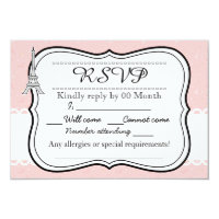 Chic classy pink Paris Eiffel tower RSVP Card