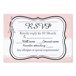 Chic classy pink Paris Eiffel tower RSVP 3.5x5 Paper Invitation Card