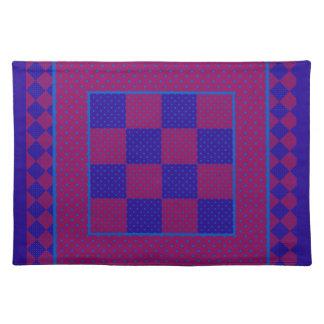 Chic Cloth Place Mat, Purple, Blue, Plum Polkas Cloth Placemat
