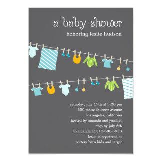 Chic Clothesline Baby Shower Invitation (Boy)