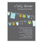 "Chic Clothesline Baby Shower Invitation (Boy) 5"" X 7"" Invitation Card"