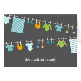 Chic Clothesline Baby Thank You Card - Boy
