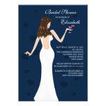 Chic Cocktail Bride Bridal Shower Invitation blue