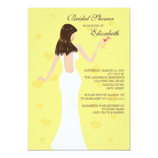 Chic Cocktail Bride Bridal Shower Invitation Yello